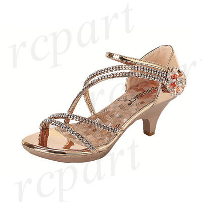 New women shoes evening rhinestones med heel wedding prom formal jewel Rose Gold ()
