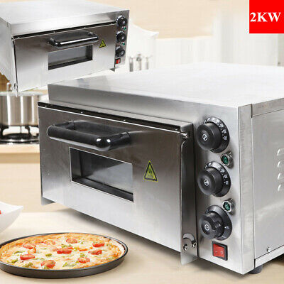 Electric 2000w Pizza Oven Single Deck Stainless Steel Ceramic Fire Stone Usa