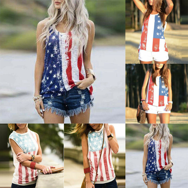 women sleeveless vest patriotic stripes star american