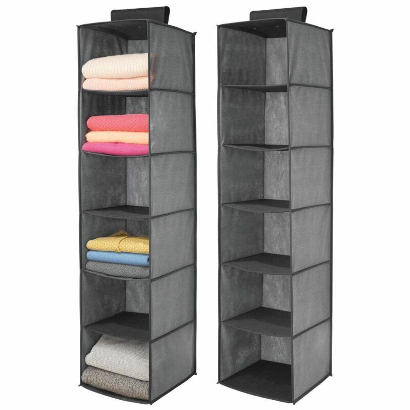 mDesign Fabric Over Closet Rod Hanging Organizer, 6 Shelves, 2 Pack - Dark Gray
