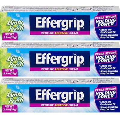 3 Pack Effergrip Extra Strong Denture Adhesive Cream Zinc Free 2.5Oz Each Effergrip Denture Adhesive Cream