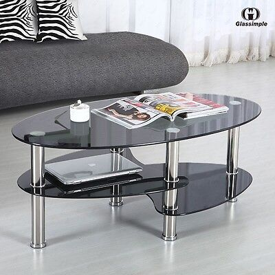 Sulky Glass Oval Side Coffee Table Shelf Chrome Base Living Room Furniture