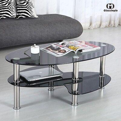 Menacing Glass Oval Side Coffee Table Shelf Chrome Base Living Room Furniture