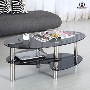 Modern Black Glass Side Coffee Table Shelf Chrome Base Living Room Furniture