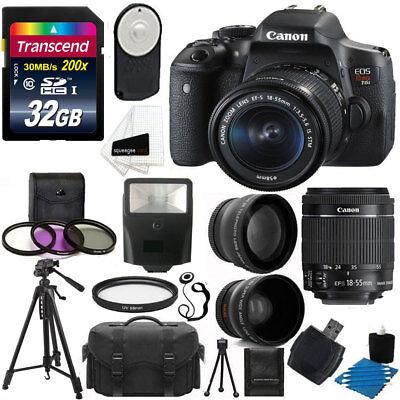 Canon EOS Rebel T6i Digital SLR Camera + 18-55mm STM Lens + 32GB All in 1 Bundle