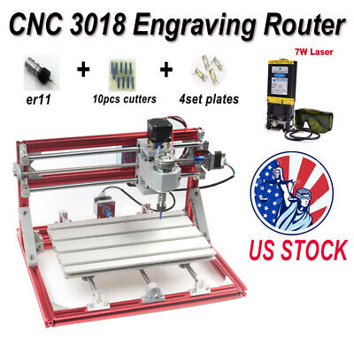 Cnc 3018 Engraving Router Carving Milling Cutting Machine 7 W Laser Module Us