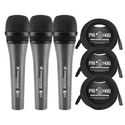 Sennheiser e 835 Dynamic Vocal Microphone (3-Pack) with 20 ft XLR