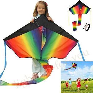 UK Huge Rainbow Kite 100M String For Kids Fun Outdoor Beach Summer Games