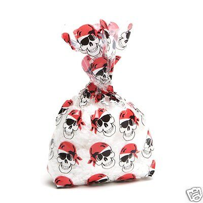 Clear Plastic Bags For Favors (Pirate Cello Treat Loot Bags for Birthday Party, Halloween, 12p Skull Favor)