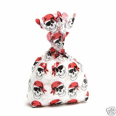 Pirate Cello Treat Loot Bags for Birthday Party, Halloween, 12p Skull Favor Bags - Clear Plastic Bags For Favors