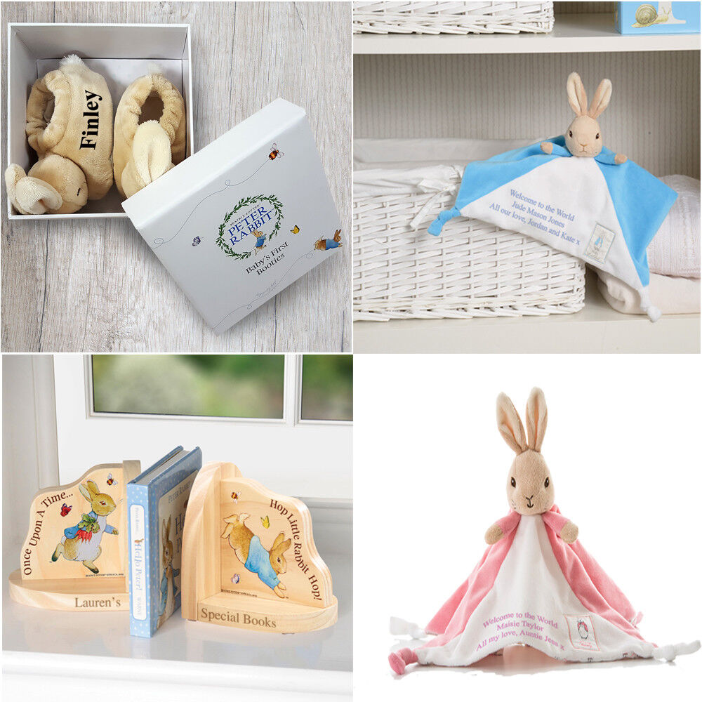 Personalised Peter Rabbit Comforter Booties Bookends Newborn Baby Toddler Gifts