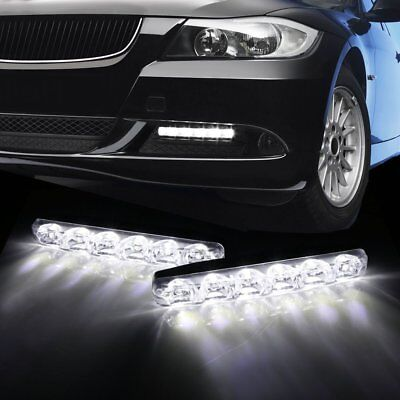 COPPIA LUCI DIURNE 6 POWER LED DAYLIGHT 12 UNIVERSALI AUTO LUCE BIANCA ANTERIORI