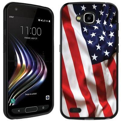 for LG X Venture/X Calibur (USA Flag Waving)Black TPU gel skin phone case cover