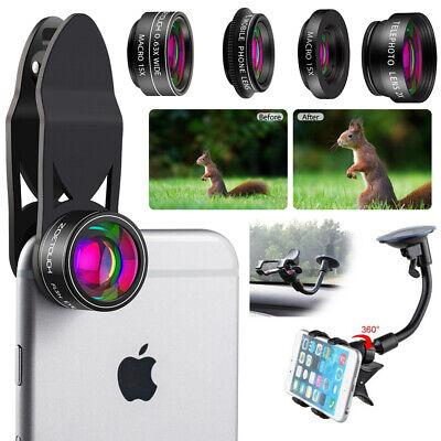 5in1 Phone Camera Lens Kit Fisheye Wide Angle Macro Telephoto For iPhone Samsung