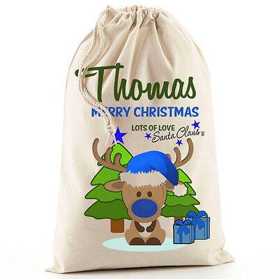 Cute Personalised Blue Boy Christmas Reindeer Santa Sack stocking gift bag Xmas
