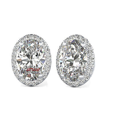 Ruby Simulated Earring (4ct CZ Stud Earrings OVAL Halo Simulated sapphire emerald amethyst ruby gift)