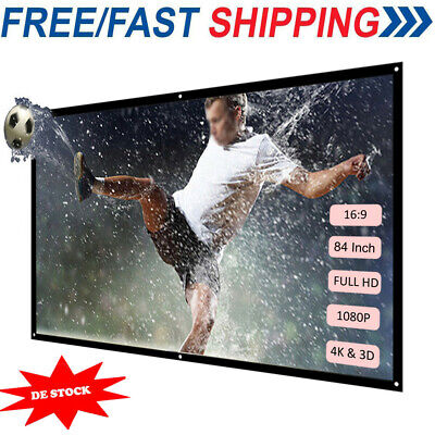 """60"""" 80"""" 100"""" Inch Foldable Wall Projector Screen 16:9 Home Indoors Outdoor N5W9"""