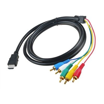 Component Video Cable Gold Plating - 5FT / 1.5M HDMI Male to 5 RCA RGB Audio Video AV Component Cable Gold Plated