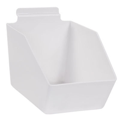10 Slatwall Bins Dump Acrylic White 9 X 6 W X 5 Plastic Retail Display