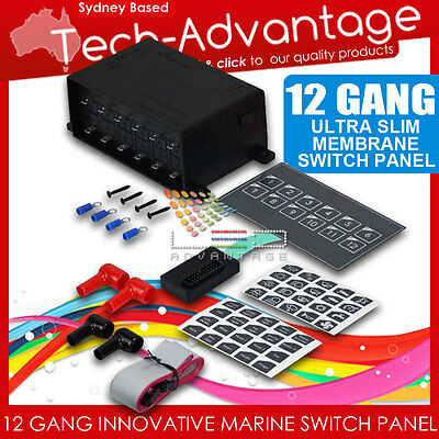 12V 12 GANG LED SWITCH PANEL SLIM TOUCH CONTROL PANEL BOX - BOAT/CARAVAN/YACHT