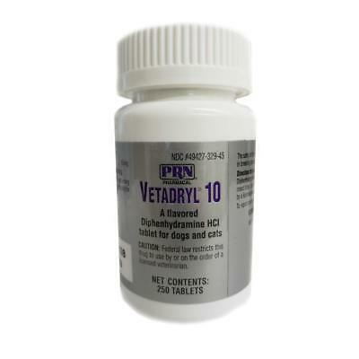 Vetadryl 10Mg Diphenhydramine Hcl Tablets For Dogs   Cats 250Ct By Prn