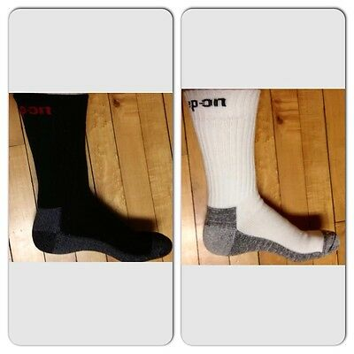 12 Pairs Men's (6 WHITE & 6 BLACK) Snap On Crew Socks L  MADE IN USA     New!