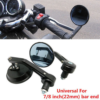 """Motorcycle CNC Aluminum Rear View Handle Bar End 7/8"""" Mirrors Round Black NEW"""