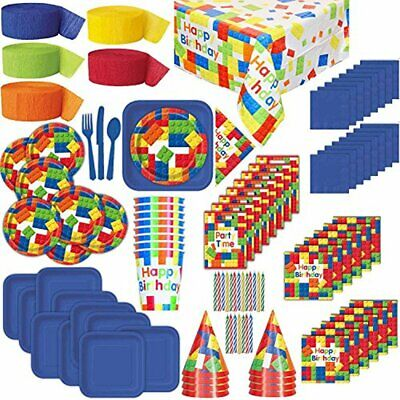 Lego theme Birthday Party Supplies for 16: Plates, Cups, Napkins, Tablecloth, - Themes For 16 Birthday Parties