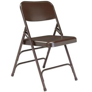 New National Public Seating 303 Brown Premium Metal Triple-Brace Folding Chair DI17 4 available