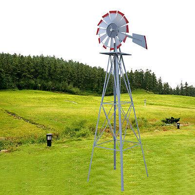 8ft. Ornamental Decorative Garden Yard Windmill  Silver - Red Tips