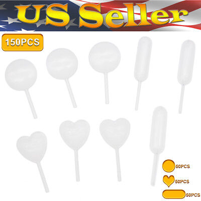150pcs 4ml Plastic Heart Round Rectangular Squeeze Transfer Pipettes For Cupcake