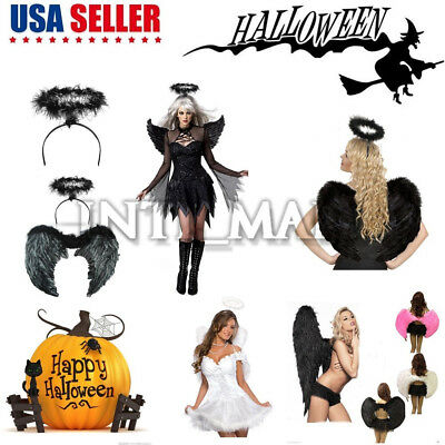 Adult Kids Feather Wings Fallen Angel Halloween Fancy Dress Costume Thanksgiving