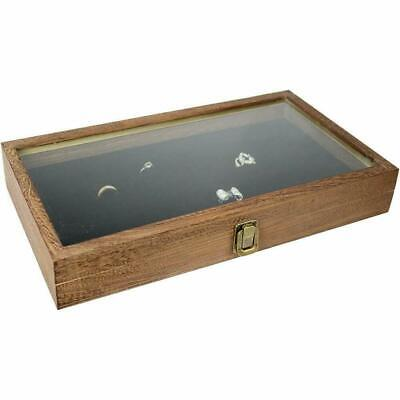 Display Box Wood Glass Top Lid With Black Pad Case Medals Jewelry Brown 72 Slot