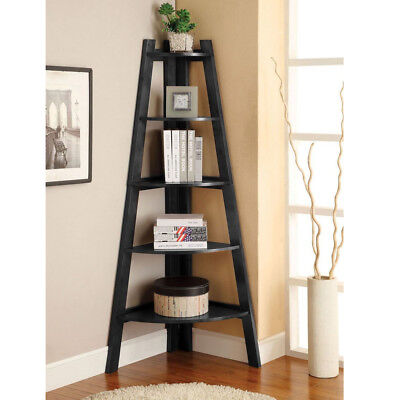5 Tier Corner Shelf Shelves Stand Storage Black Display Rack Organizer Furniture (Vintage Corner Shelves)