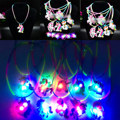 Light Up Unicorn Party Supplies Necklace Magical Unicorn Christmas Party Favors