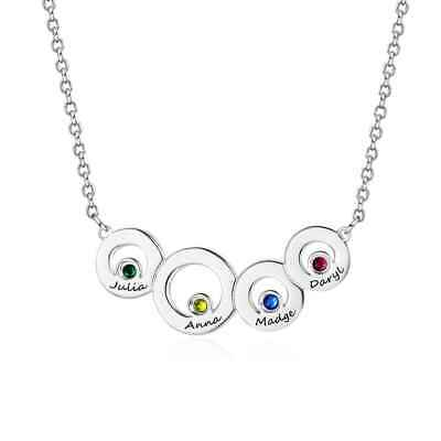 Personalised Family Names Birthstone Necklace Pendant for Mum Mother