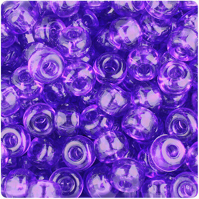 250 Amethyst Purple Transparent 11x8mm Barrel Pony Beads Made in the USA ()