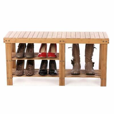 Shoe Storage Bench Seat Organizer Entryway Wood Furniture