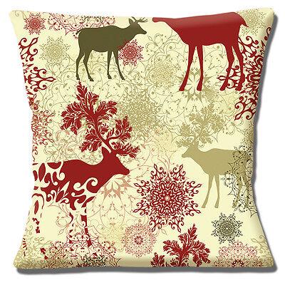 Christmas Cushion Cover 16 x 16 inch 40cm Stag Wildlife Snowflakes Multicolour