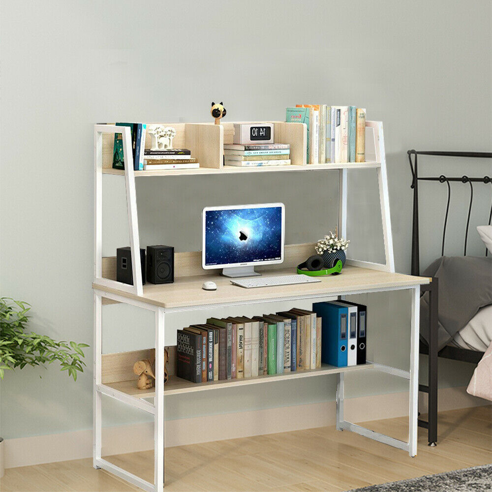 Folding Computer Desk Laptop PC Table Home Office Study Bookcase Unit Oak Colour