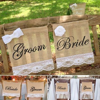 Burlap Decorations (Groom Bride Burlap Lace Chair Signs Banner for Rustic Wedding Chair)