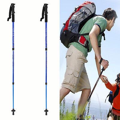 Pair 2 Folding Trekking Pole Collapsible Alpenstocks Adjustable Anti Shock New