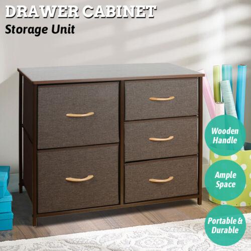 Drawer Dresser Shelf Organizer Bins Chest W/ 5 Fabric Drawers Tower Storage Unit