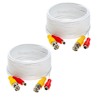 2 lot 20ft Security Camera Cable CCTV Video Power Wire BNC RCA White Cord DVR