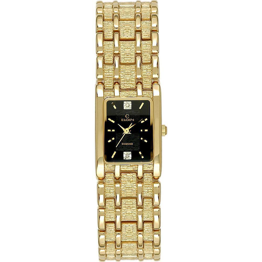 Ladies ELGIN EM486 Diamond Quartz Gold Tone Watch New in box