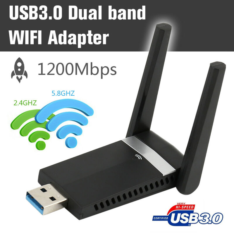 1200Mbps WiFi Adapter 2.4/5.8GHz USB 3.0 Dual Band WLAN Empfänger Stick Dongle