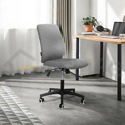 Ergonomic Office Chair Linen Adjustable Swivel Computer Seat Armless Home Gray