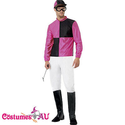 Pink Black Jockey Horse Racing Rider Mens Uniform Fancy Dress Costume Outfit Hat](Jockey Costumes)
