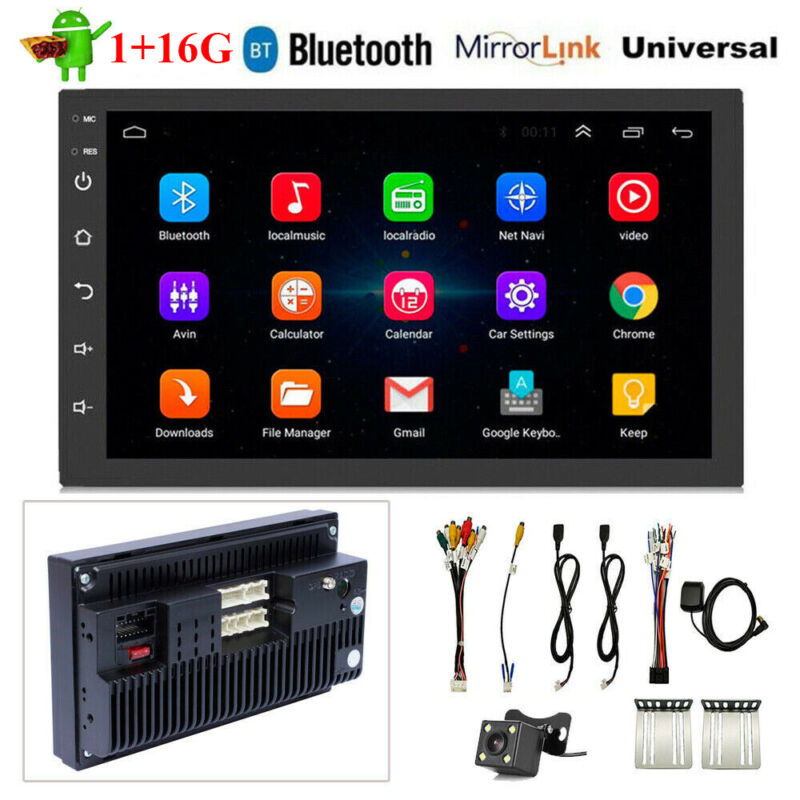 Double 2Din 7in Android 9.1 Quad Core Car Stereo MP5 Player GPS Navi WiFi Radio