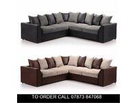 mks Brandon Cord Fabric Corner Sofa Settee in Two Colours xad